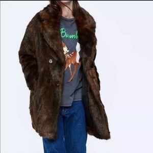 NWT- Zara Faux-Fur Double Breasted Coat
